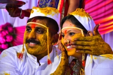 Bride-and-groom-at-turmeric-ce